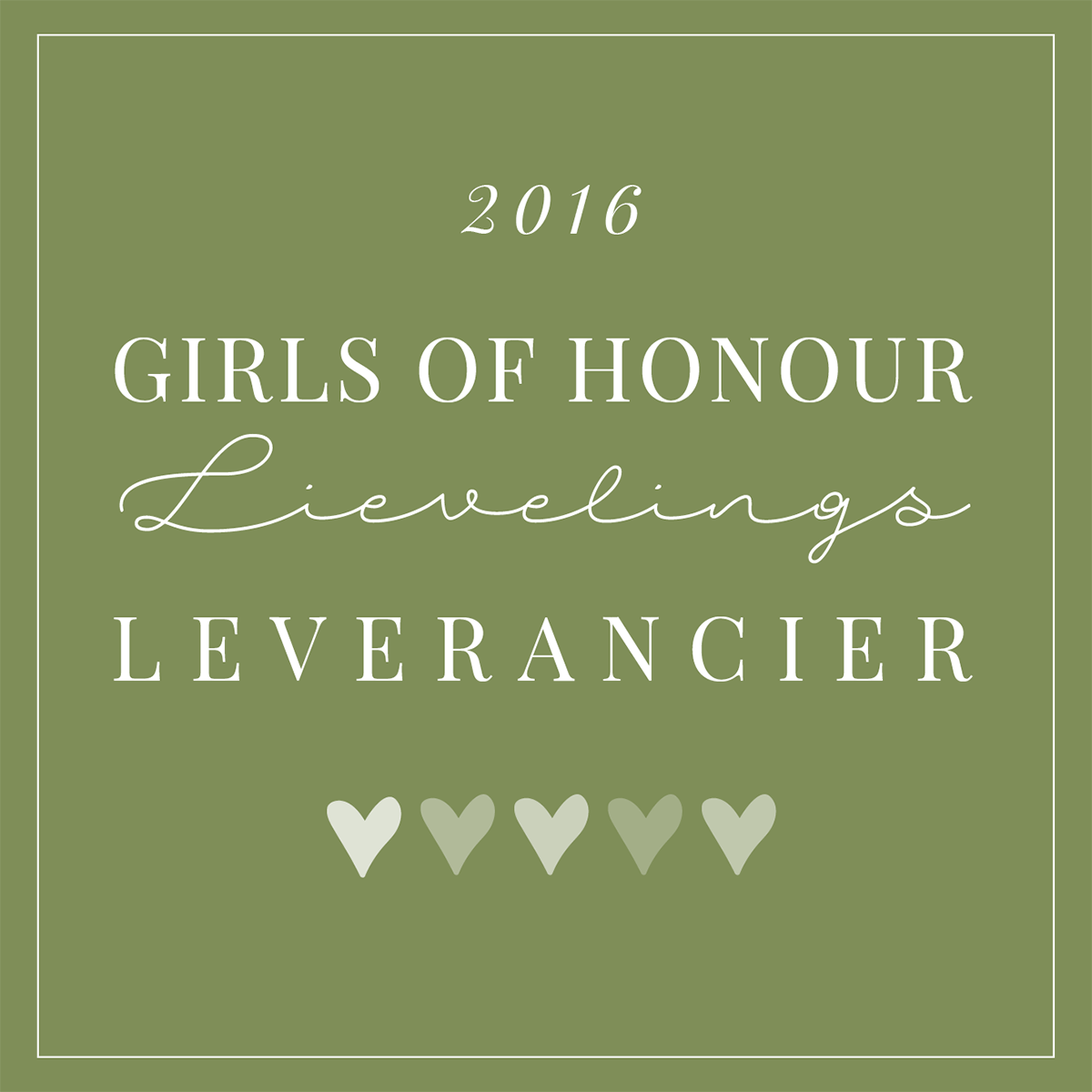 Girls of Honour lievelingsleveranciers